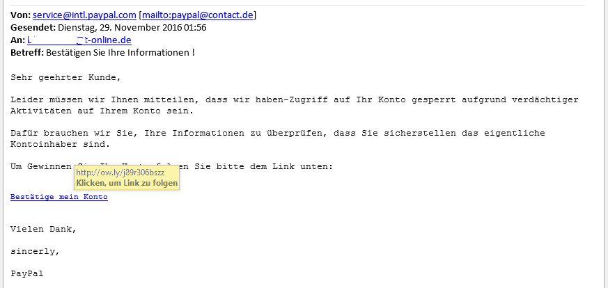Beispiel einer Phishing E-Mail
