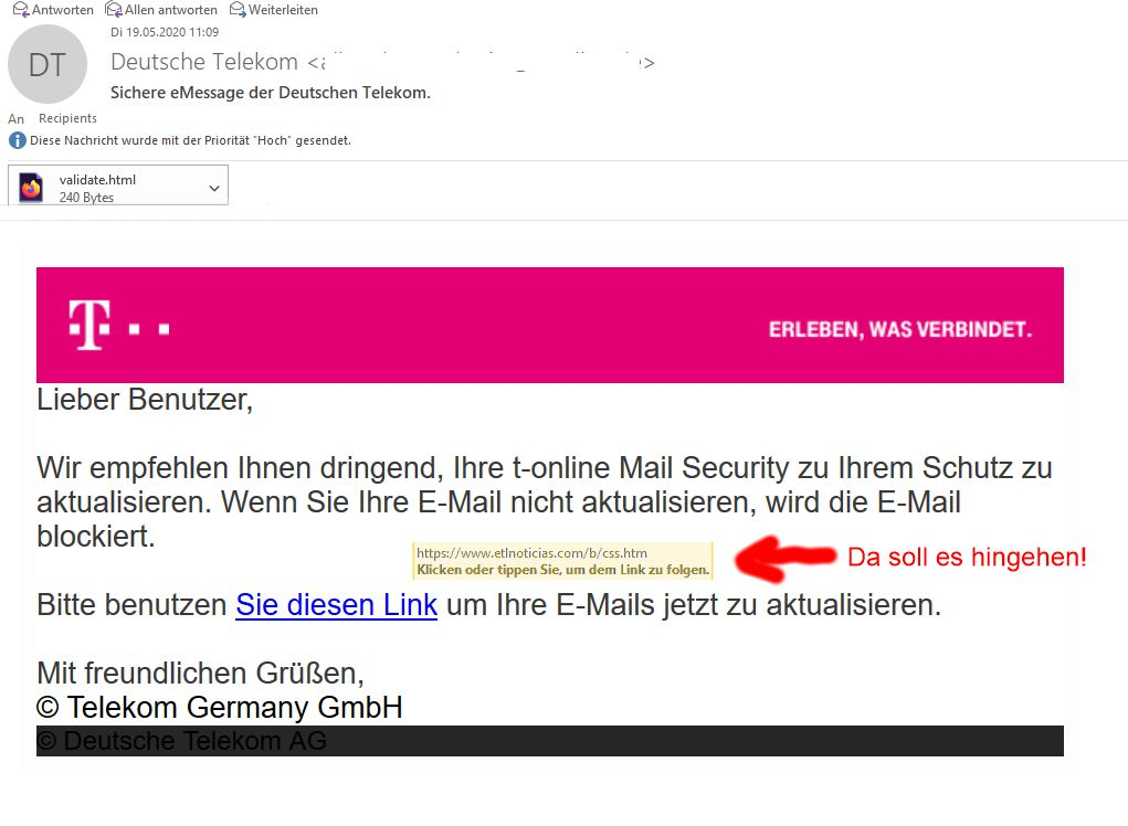 Telekom Betrugs Mail Beispiel