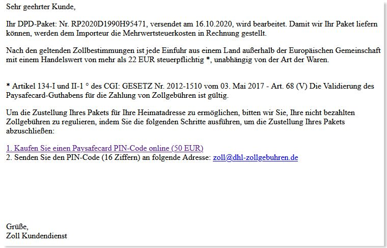 Betrugs Email Zoll DHL