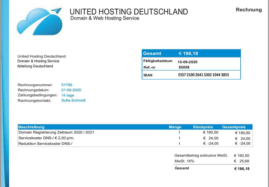 Rechnung Von De Deutsche Domain