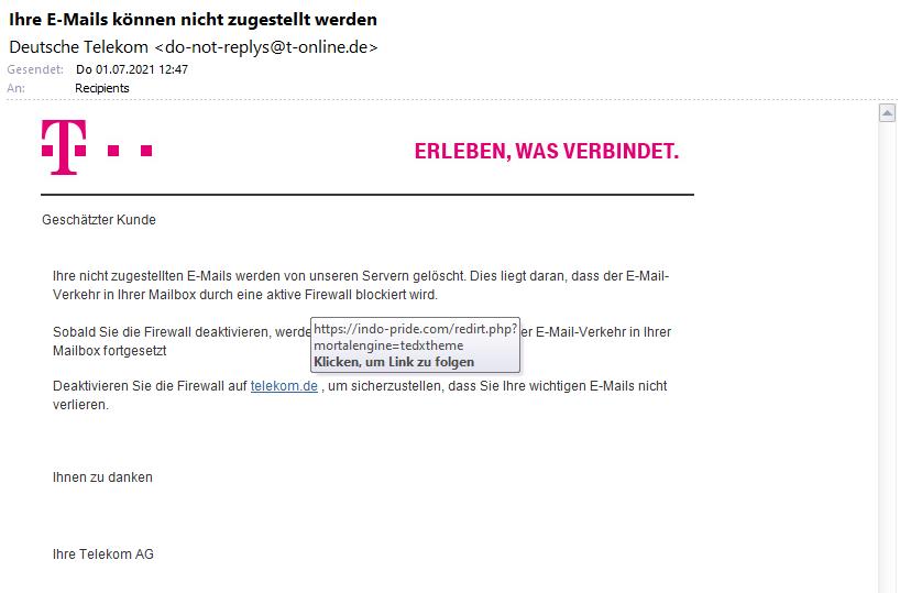 Telekom Phishing E-Mail Beispiel 2021